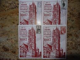 1er Jour Rodez Aveyron Lot De 4 Cartes Affranchies Differement   1961 - FDC