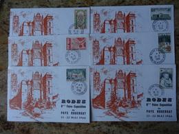 1er Jour Rodez Aveyron Lot De 6 Cartes Affranchies Differement   1966 - FDC