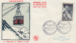 Enveloppe  FDC  1er  Jour    FRANCE   Téléphérique  De  L' AIGUILLE  DU  MIDI    CHAMONIX   1956 - 1950-1959