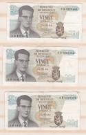 Belgique 3 Billets 20 Francs 15. 06 1964. - [ 6] Trésorerie