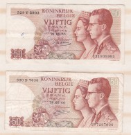 Belgique 2 Billets 50 Francs 16. 05 1966 - [ 6] Treasury