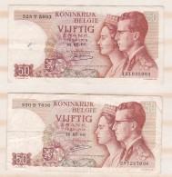 Belgique 2 Billets 50 Francs 16. 05 1966 - [ 6] Tesoreria