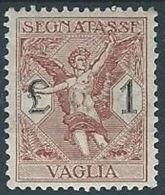 1924 REGNO SEGNATASSE PER VAGLIA 1 LIRA LUSSO MH * - RR13726 - 1900-44 Victor Emmanuel III.