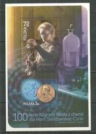POLAND MNH ** Bloc 194 Marie Curie Prix Noble De Chimie Médaille Portrait - 1944-.... Republik