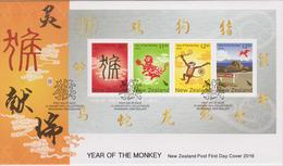New Zealand 2016 Year Of The Monkey Miniature Sheet FDC - FDC