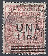 1925 REGNO USATO SERVIZIO COMMISSIONI 1 LIRA SU 30 CENT - RR12121 - 1900-44 Victor Emmanuel III.