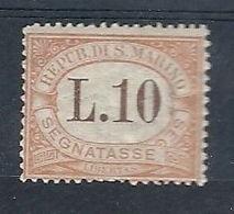 1925 SAN MARINO SEGNATASSE 10 LIRE MH * - RR7945 - Segnatasse