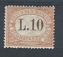 1925 SAN MARINO SEGNATASSE 10 LIRE MH * - RR7945-2 - Segnatasse