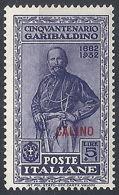 1932 EGEO CALINO GARIBALDI 5 LIRE MH * - RR12388 - Egeo (Calino)