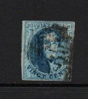 Belgium 1849  - 1865  Twenty Cents Blue Good Used Watermarked - Belgique