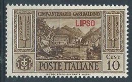1932 EGEO LIPSO GARIBALDI 10 CENT MH * - RR4484 - Egeo (Lipso)