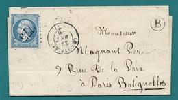 Aisne - Le Catelet - GC 775 + CàD Type 15. 1866 - Marcofilie (Brieven)
