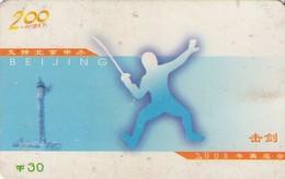 TARJETA TELEFONICA DE CHINA. ESGRIMA. (001) - Jeux Olympiques