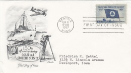 USA 1957 - FDC Brief 3 C 150th Anniversary COAST And GEODETIC SURVEY, Stempel Seattle - Ersttagsbelege (FDC)