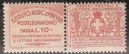 1936 REGNO FRANCOBOLLI ASSICURATIVI 10 LIRE MNH ** CERTIFICATO - Versichert