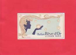 CARTE PARFUMEE /REVE D OR / PIVER PARIS / ART NOUVEAU /  + CLARTE  GRISE EN CADEAU / - Perfume Cards