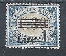 1936-39 SAN MARINO SEGNATASSE 1 LIRA SU 30 CENT MH * - RR7944 - Segnatasse