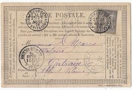 CPP Sage 77 De La Guerche De Bretagne Vers Antrain (TAD Bleu) 21 Mars 1878 - Postal Stamped Stationery