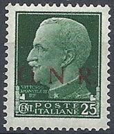 1944 RSI GNR BRESCIA EFFIGIE 25 CENT VARIETà MNH ** - RR13160-3 - 4. 1944-45 Repubblica Sociale