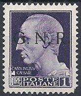 1944 RSI GNR BRESCIA I TIPO I TIRATURA 1 LIRA MNH ** - RSI234-5 - 4. 1944-45 Repubblica Sociale