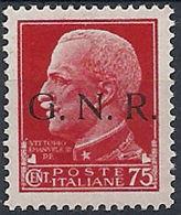 1944 RSI GNR BRESCIA I TIPO I TIRATURA 75 CENT MNH ** - RSI233-16 - Ongebruikt