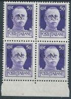 1944 RSI GNR VERONA 50 CENT QUARTINA MNH ** - RSI252-3 - 4. 1944-45 Repubblica Sociale