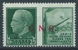 1944 RSI PROPAGANDA DI GUERRA 25 CENT BRESCIA MNH ** - RR13729-3 - 4. 1944-45 Repubblica Sociale