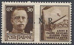 1944 RSI PROPAGANDA DI GUERRA 30 CENT TIRATURA BRESCIA III TIPO MNH ** - RR12032 - 4. 1944-45 Repubblica Sociale