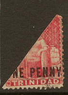 TRINIDAD 1879 1d Bisect QV SG 101a U #KU23 - Trinité & Tobago (...-1961)