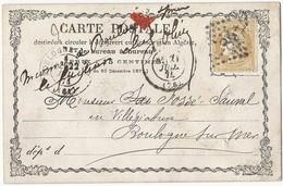 CPP Cérès 59 De Amiens Vers Boulogne Sur Mer 20 Juillet 1874 Marque Manuscrite Du Facteur - Postal Stamped Stationery
