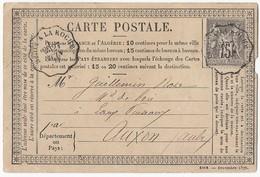 CPP 77 TAD Convoyeur Ligne Dijon A Laroche 27 Juin 1877 Vers Auxon - Postal Stamped Stationery