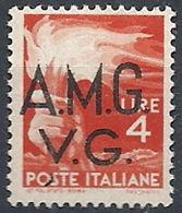 1945-47 TRIESTE AMG VG 4 LIRE VARIETà MNH ** - RR11961 - Trieste