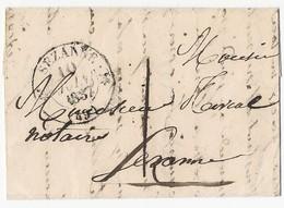 LAC Sézanne TAD Type 12 Du 10 Juin 1837 Pour Sézanne  Taxe 1 - Marcophilie (Lettres)
