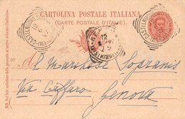 "1022"" STORIA POSTALE-CARTOLINA A MARCHESE SOPRANISC - GENOVA "" CART. POSTALE ORIG. SPED. - Genova (Genoa)"