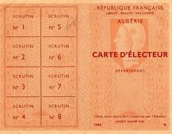 CARTE D'ELECTEUR -ALGERIE   DECEMBRE 1960  REPUBLIQUE FRANCAISE - Maps