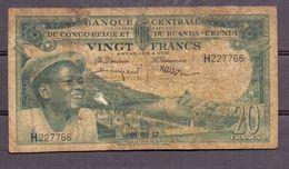 Belgian Congo Kongo 20 Fr 1957  VG - [ 5] Belgian Congo