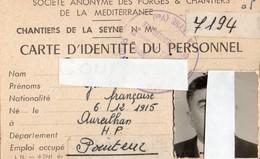 CHANTIERS DE LA SEYNE- VAR-CARTE D'IDENTITE DU PERSONNEL N° 7194- 63 - Maps