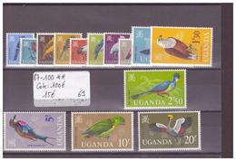 OUGANDA - No Michel 87-100 ** ( SANS CHARNIERE ) - COTE: 100 € - Uganda (1962-...)