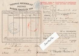 Bordereau De Livraison Champagne 1894 / Théophile ROEDERER / 51 Reims - Francia