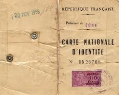 CARTE D'IDENTITE - BONE  ALGERIE  -RF -N°DN26768   Novembre 1958 - Maps