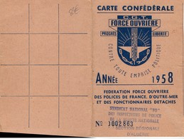 CARTE CONFEDERALE -FORCE OUVRIERE C.G.T.  1958-N°0002863  ALGERIE - Maps