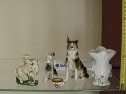 Lot De 5 Bibelots Anciens En Faïence Chien Cheval Vase D' Eglise Berger Allemand - Other Collections