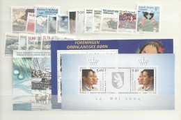 2004 MNH Greenland, Year Complete According To Michel, Except Self Adhesive, Postfris - Greenland