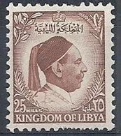 1952 LIBIA REGNO EFFIGIE RE IDRISS 25 M MNH ** - RR12615 - Libia