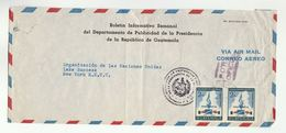 1950s GUATEMALA  Department Of PRESIDENCY OF REPUBLIC To UN Lake Success USA United Nations COVER Stamps Airmail - Guatemala