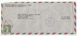 1953 EL SALVADOR Direccion General Estadistica Census To UNITED NATIONS USA COVER Airmail Dr Gonzales Stamps Un - El Salvador