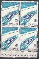 1966 ITALIA VARIETà QUARTINA BOB 60 LIRE SPOSTAMENTO COLORE BLU MNH ** - 6 - 6. 1946-.. República