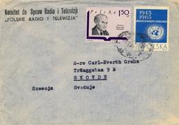 1969 , POLONIA , SOBRE DE LA RADIO Y TELEVISION POLACA , CIRCULADO A SKOVDE - 1910-... República
