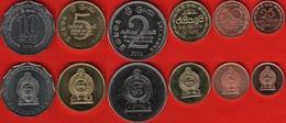 Sri Lanka Set Of 6 Coins: 25 Cents - 10 Rupees 2005-2013 UNC - Sri Lanka