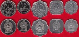 Sri Lanka Set Of 5 Coins: 2 - 50 Cents 1978-2004 UNC - Sri Lanka